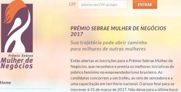 Sebrae abre inscrições para Prêmio Mulher de Negócios 2017