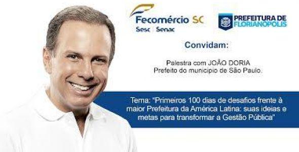 Prefeito de SP João Doria faz palestra em Florianópolis nesta sexta-feira (05)