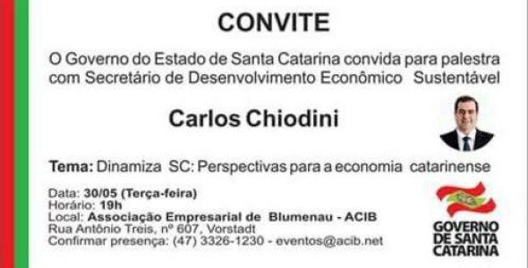 Perspectivas para a economia catarinense é tema de palestra na Acib