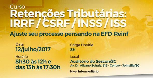SESCON de Joinville abre curso de retenções tributárias: IRRF / CSRF / INSS / ISS