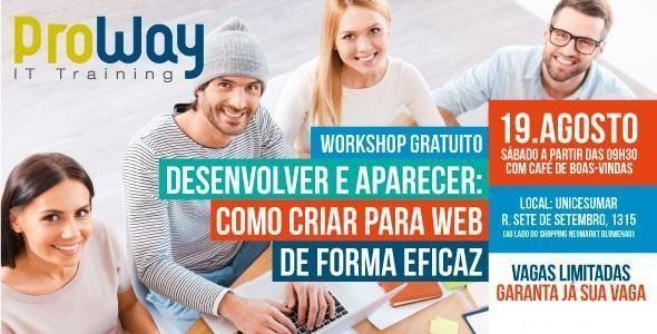 Proway promove workshop gratuito: Como criar para web de forma eficaz