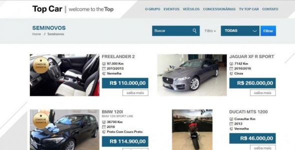 Site do Grupo Top Car responde por 45% das vendas de seminovos