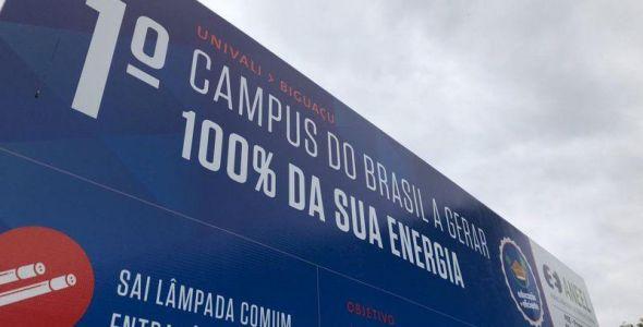 Campus Biguaçu da Univali será o primeiro do país a gerar 100% de sua energia