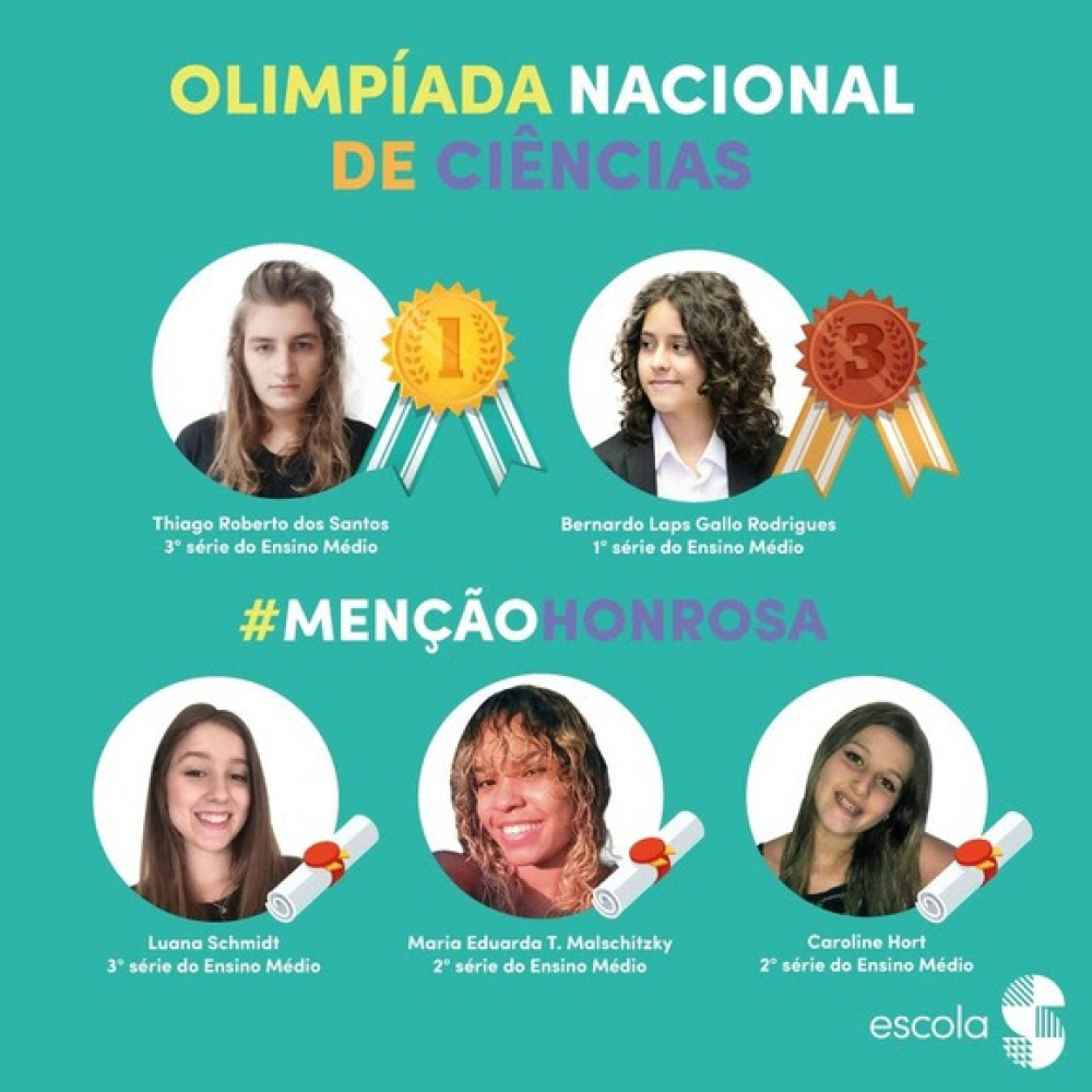 Escola blumenauense é destaque com medalha de ouro na Olimpíada Nacional de Ciências