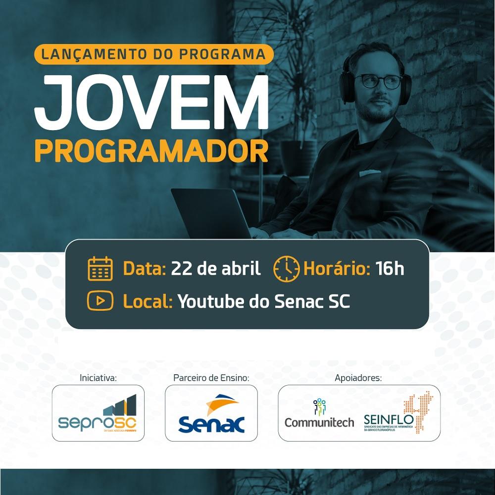 Seprosc e Senac lançam Projeto Jovem Programador nesta quinta, 22