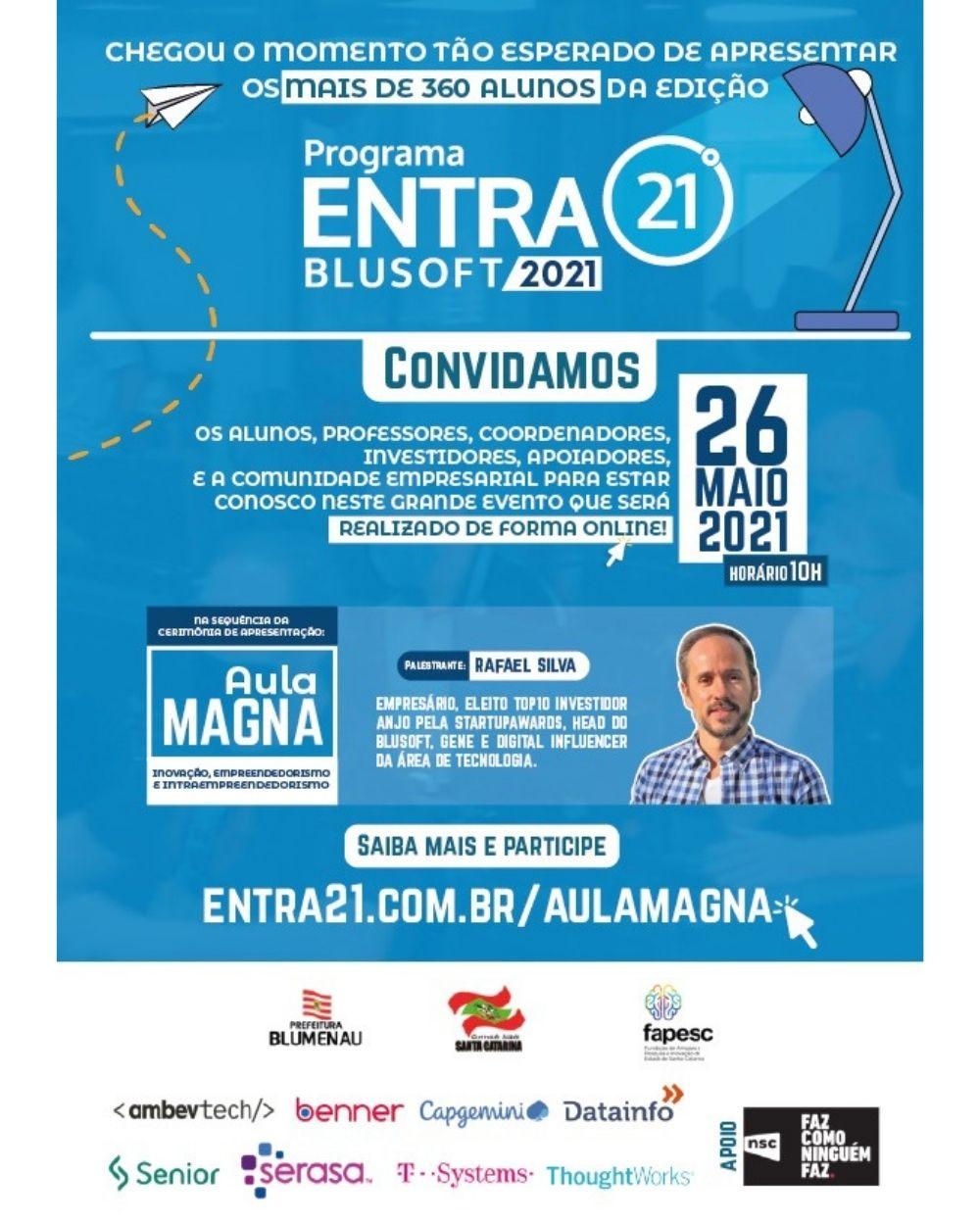 Evento de Apresentação dos Alunos da Edição 2021 e Aula Magna do Programa Entra21 acontecerão de forma Online