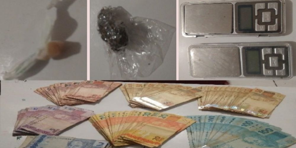 PM apreende crack, maconha e dinheiro em uma residência no bairro Passo Manso